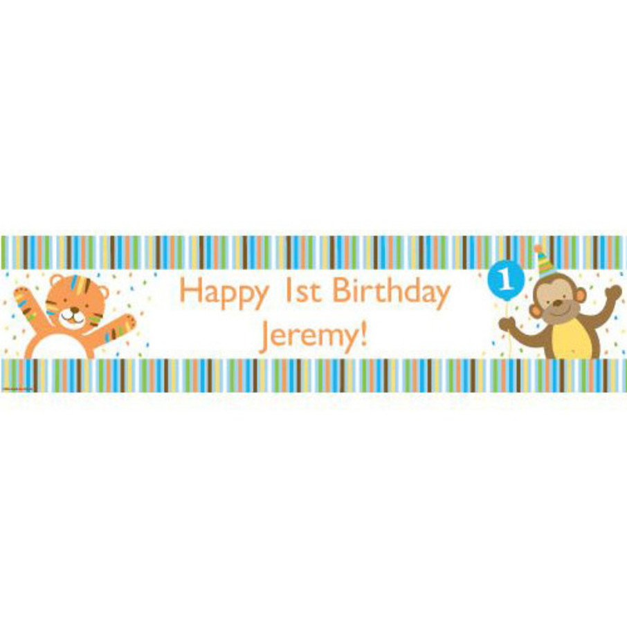 View larger image of Baby Animals 1st Birthday Boy Personalized Banner (Each)