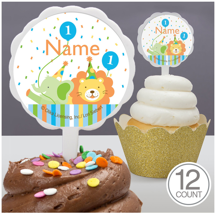 View larger image of Baby Animals 1St Birthday Boy Personalized Cupcake Picks (12 Count)