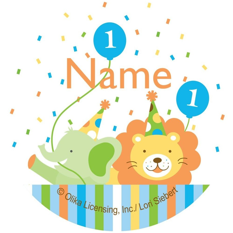 View larger image of Baby Animals 1st Birthday Boy Personalized Mini Stickers (Sheet of 24)