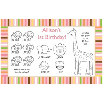 Baby Animals 1st Birthday Girl Personalized Activity Mats (8-Pack)