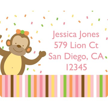 Baby Animals 1st Birthday Girl Personalized Address Labels (Sheet of 15)