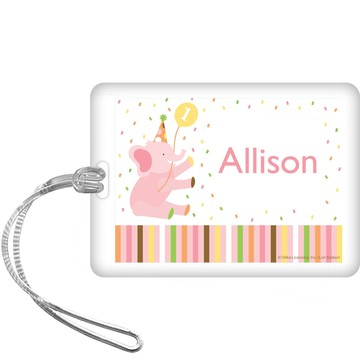 Baby Animals 1st Birthday Girl Personalized Bag Tag (each)