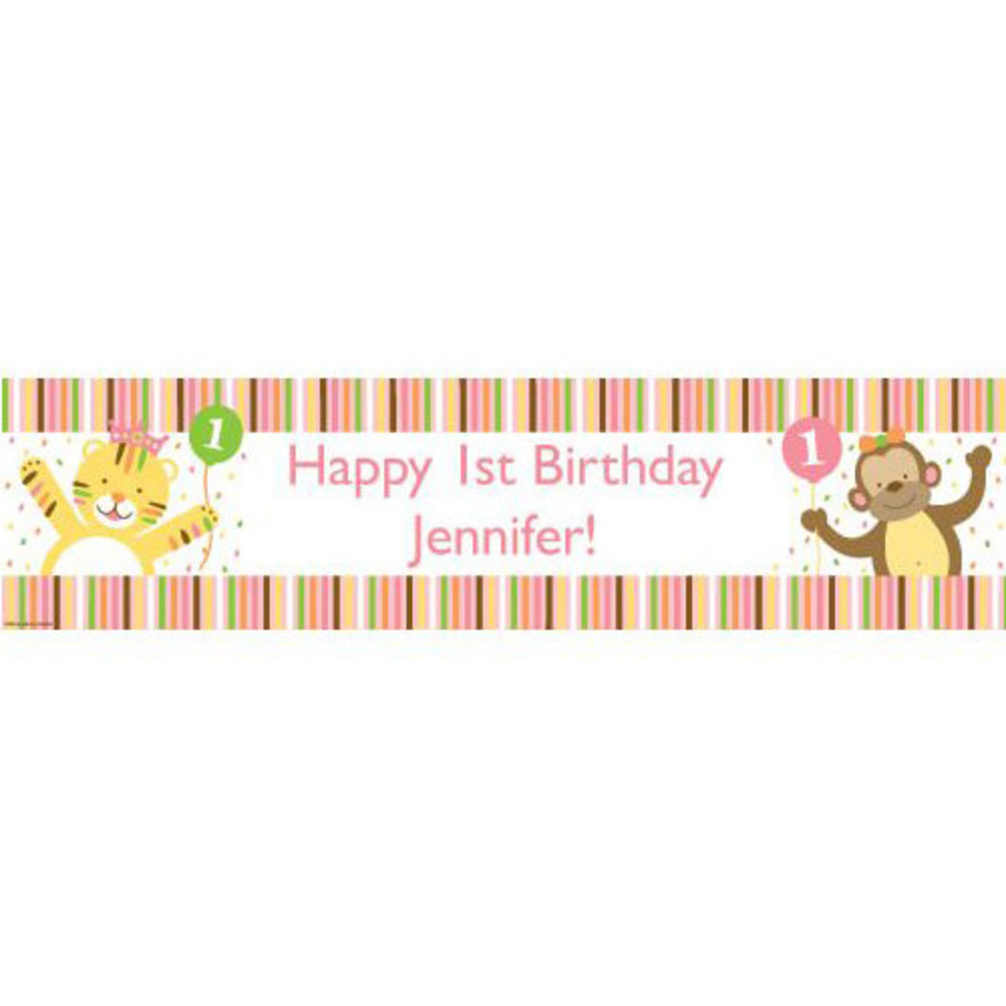 View larger image of Baby Animals 1st Birthday Girl Personalized Banner (Each)