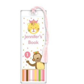 Baby Animals 1st Birthday Girl Personalized Bookmark (each)