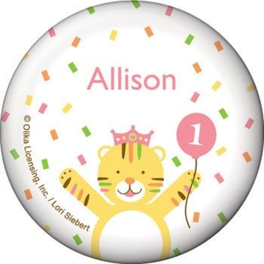 View larger image of Baby Animals 1st Birthday Girl Personalized Button (each)