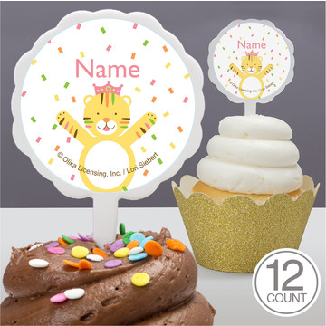 Baby Animals 1St Birthday Girl Personalized Cupcake Picks (12 Count)