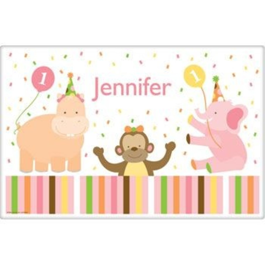 View larger image of Baby Animals 1st Birthday Girl Personalized Placemat (each)