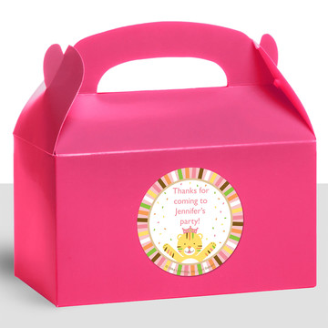 Baby Animals 1St Birthday Girl Personalized Treat Favor Boxes (12 Count)