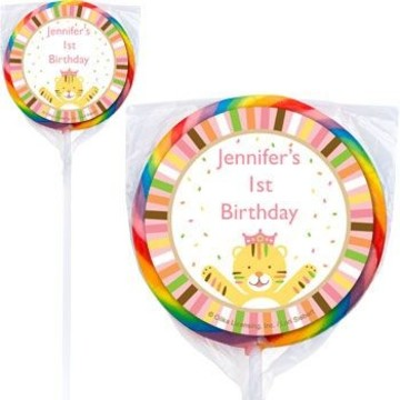 Baby Animals 1st Girl Personalized Lollipops (pack of 12)