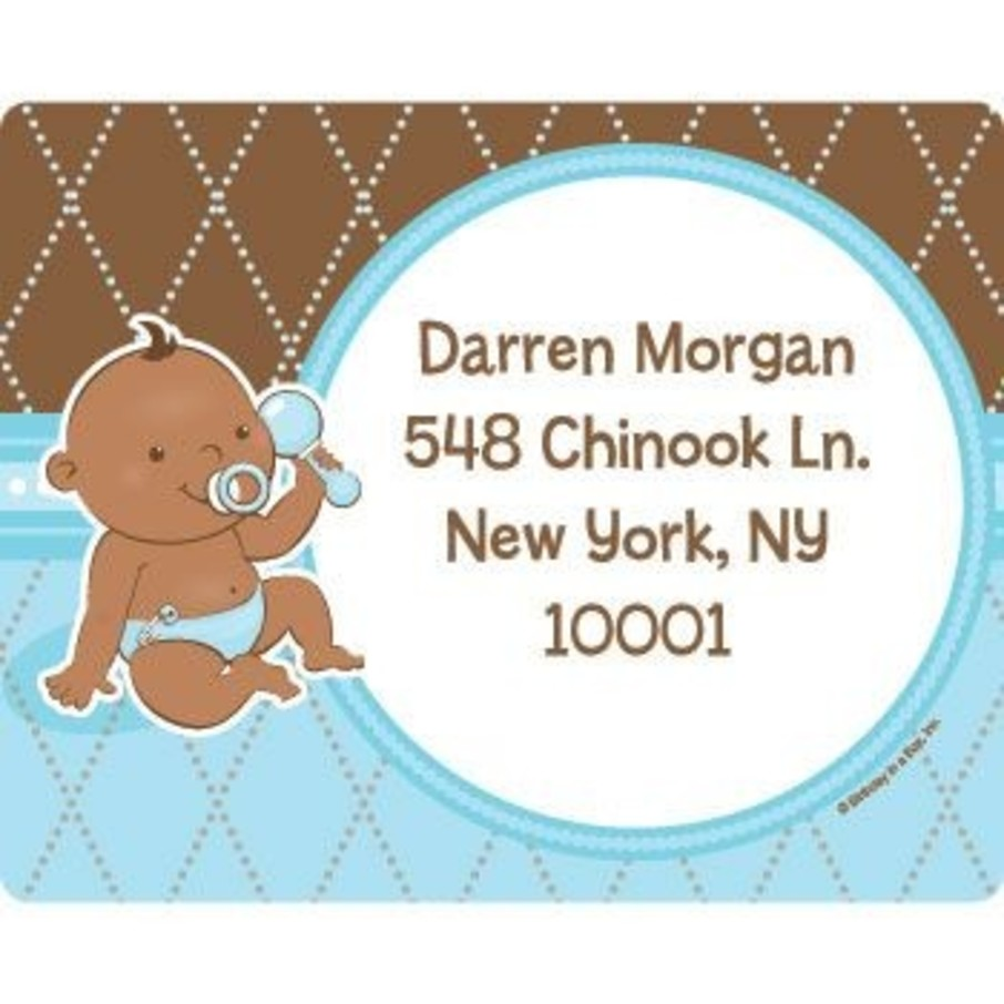 View larger image of Baby Boy - African American Personalized Address Labels (sheet of 15)