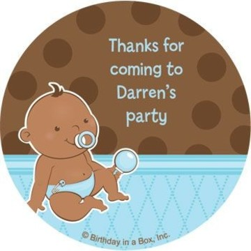 Baby Boy - African American Personalized Stickers (sheet of 12)