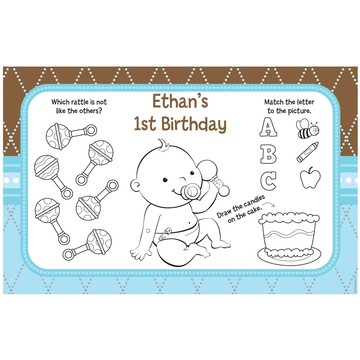 Baby Boy Personalized Activity Mats (8-Pack)