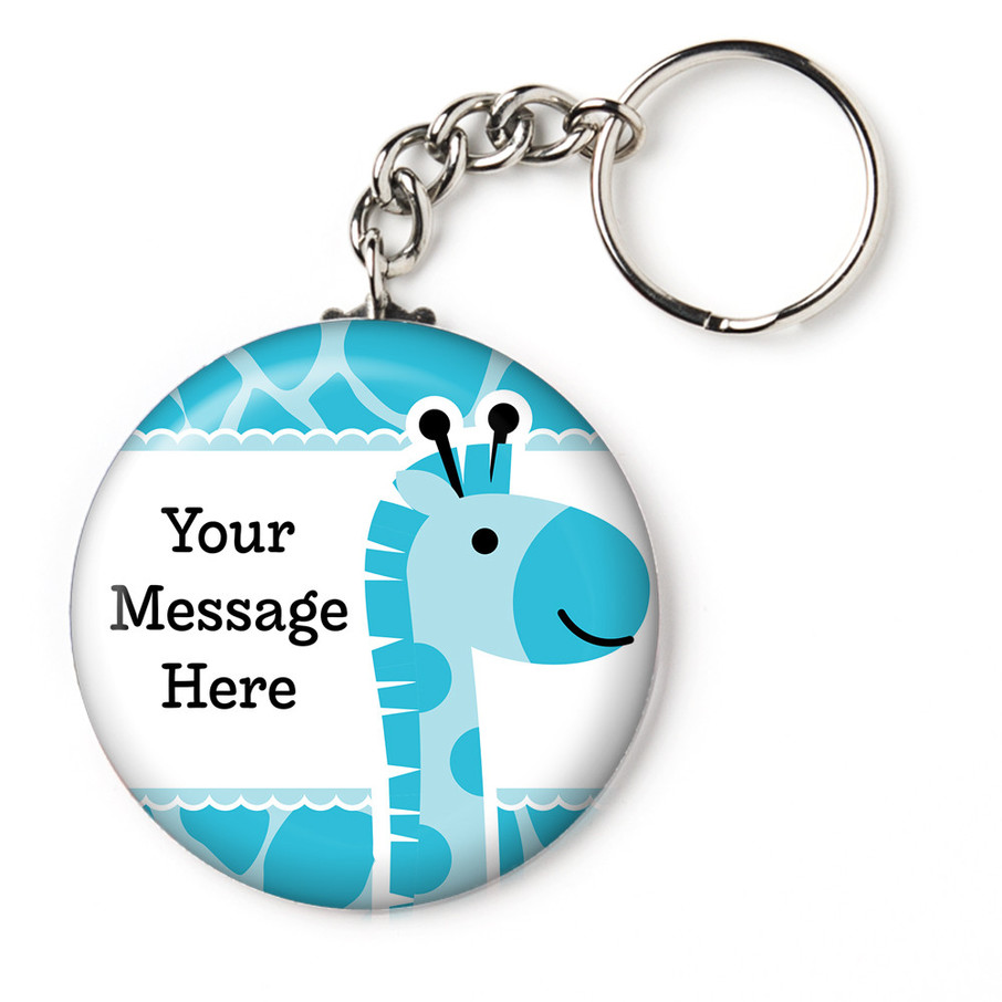 "View larger image of Baby Boy Safari Personalized 2.25"" Key Chain (Each)"