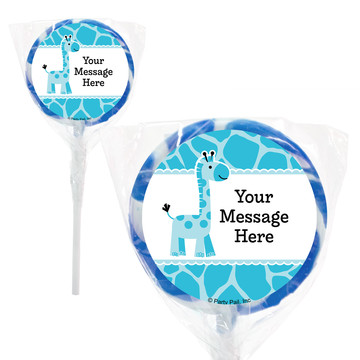 "Baby Boy Safari Personalized 2"" Lollipops (20 Pack)"