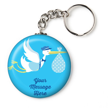"Baby Boy Stork Personalized 2.25"" Key Chain (Each)"