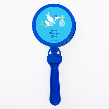 Baby Boy Stork Personalized Clappers (Set of 12)