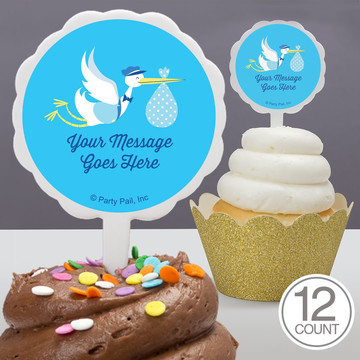 Baby Boy Stork Personalized Cupcake Picks (12 Count)