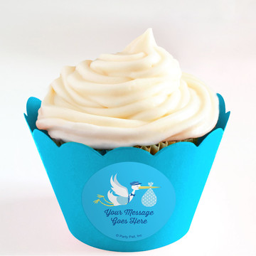 Baby Boy Stork Personalized Cupcake Wrappers (Set of 24)
