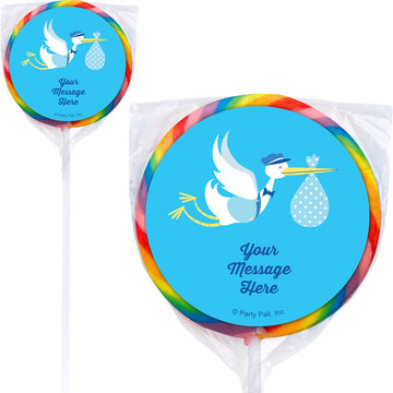 Baby Boy Stork Personalized Lollipops (12 Pack)