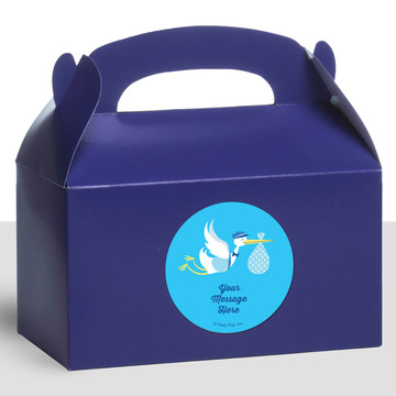 Baby Boy Stork Personalized Treat Favor Boxes (12 Count)