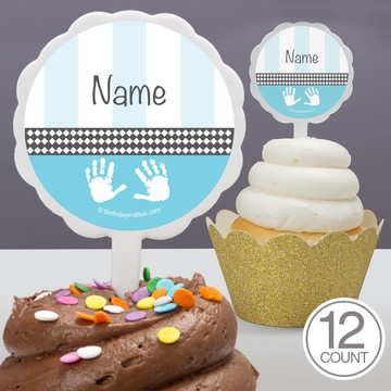 Baby Feet Blue Personalized Cupcake Picks (12 Count)