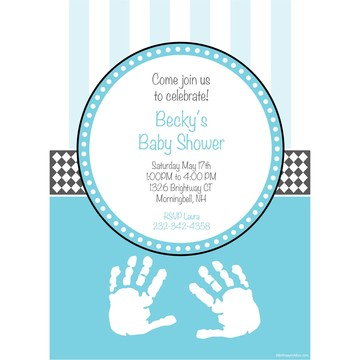 Baby Feet Blue Personalized Invitation (Each)
