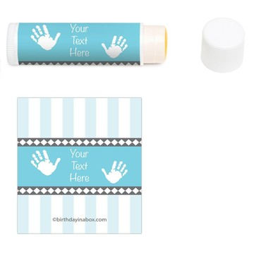 Baby Feet Blue Personalized Lip Balm (12 Pack)