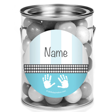 Baby Feet Blue Personalized Mini Paint Cans (12 Count)