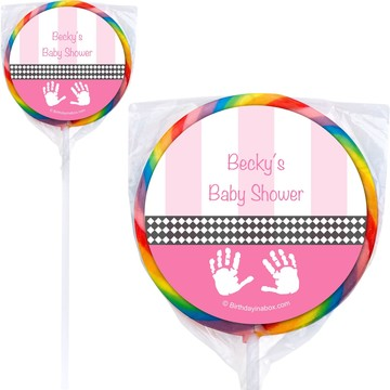 Baby Feet Pink Personalized Lollipops (12 Pack)