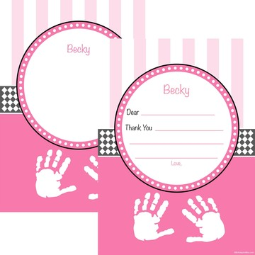 Baby Feet Pink Personalized Thank You (Each)