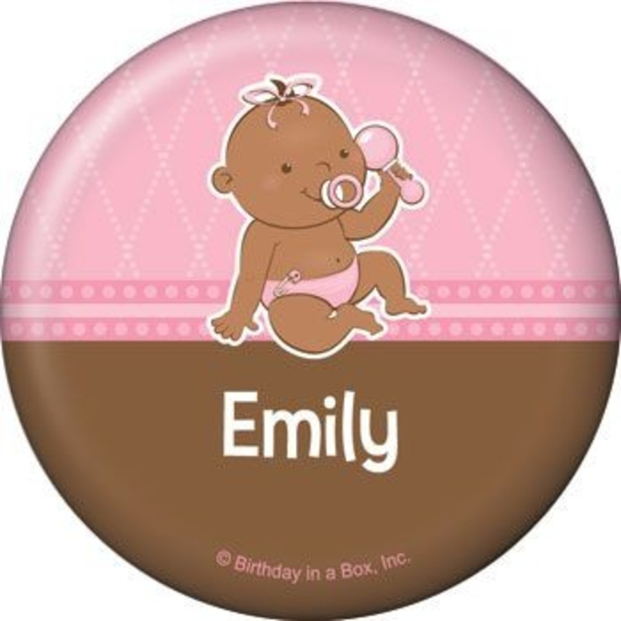 View larger image of Baby Girl - African American Personalized Button (each)