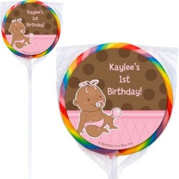 Baby Girl - African American Personalized Lollipops (pack of 12)