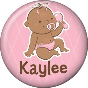 Baby Girl - African American Personalized Mini Button (each)