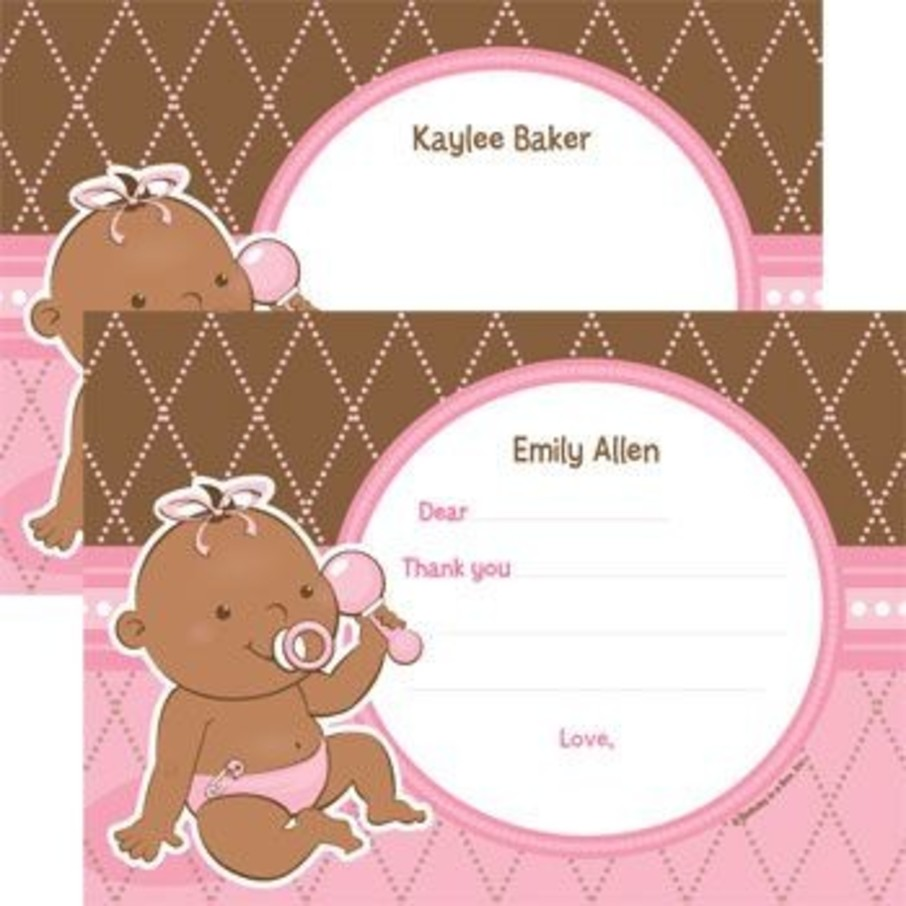 View larger image of Baby Girl - African American Personalized Thank You Note (each)