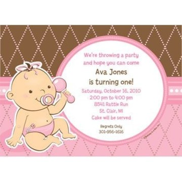 Baby Girl Personalized Invitation (each)