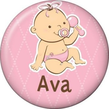 Baby Girl Personalized Mini Button (each)