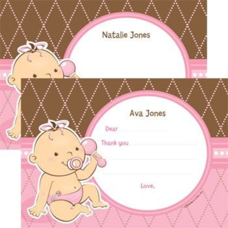 View larger image of Baby Girl Personalized Thank You Note (each)