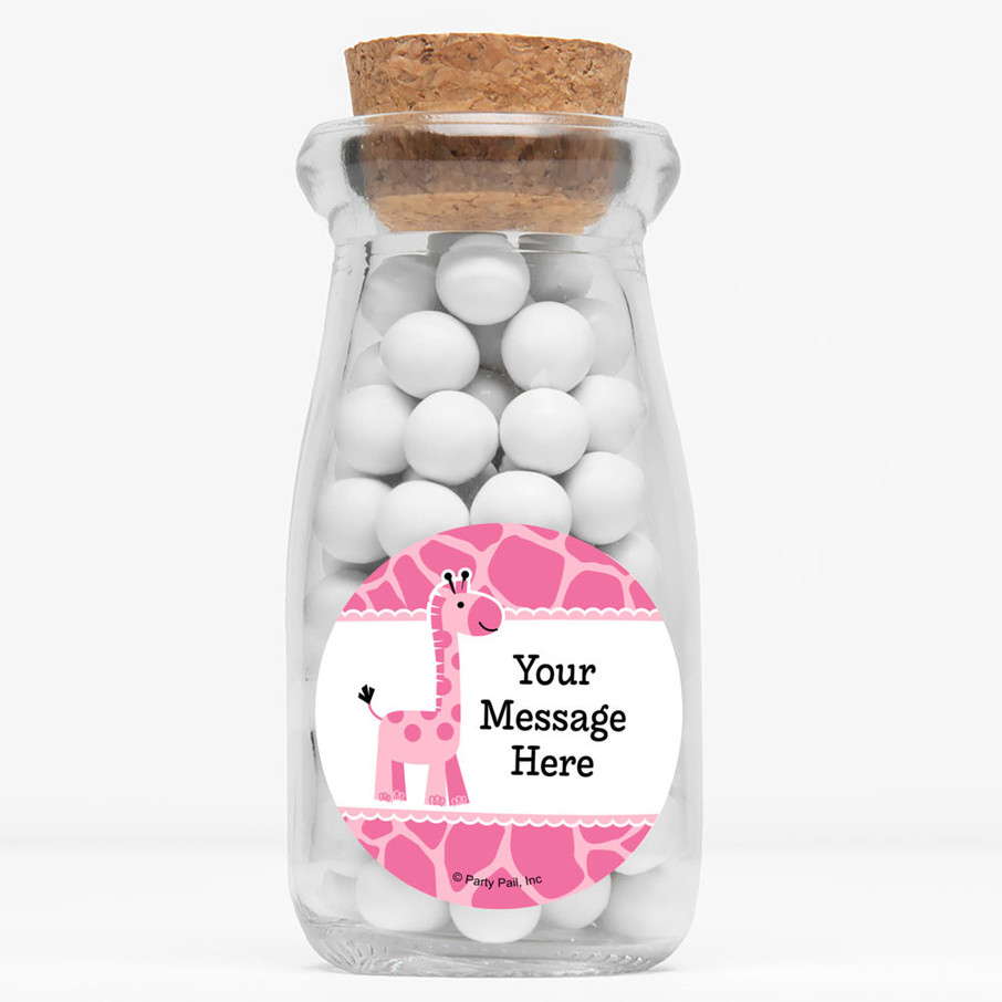 "View larger image of Baby Girl Safari Personalized 4"" Glass Milk Jars (Set of 12)"