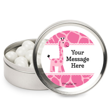 Baby Girl Safari Personalized Mint Tins (12 Pack)