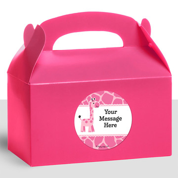 Baby Girl Safari Personalized Treat Favor Boxes (12 Count)