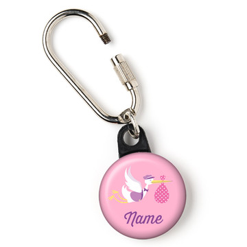 """Baby Girl Stork Personalized 1"""" Carabiner (Each)"""