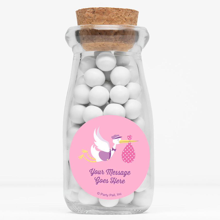 """View larger image of Baby Girl Stork Personalized 4"""" Glass Milk Jars (Set of 12)"""