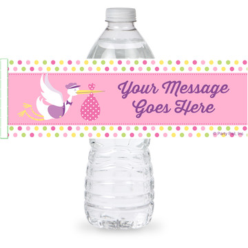 Baby Girl Stork Personalized Bottle Label (Sheet of 4)