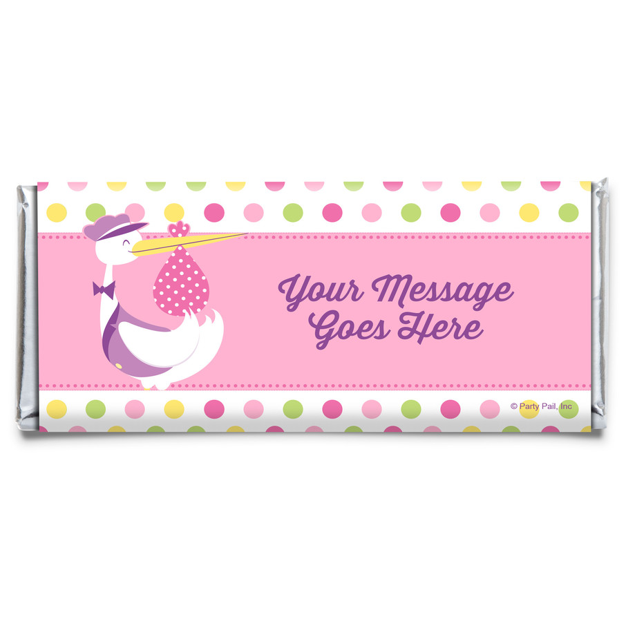 View larger image of Baby Girl Stork Personalized Candy Bar Wrapper (Each)