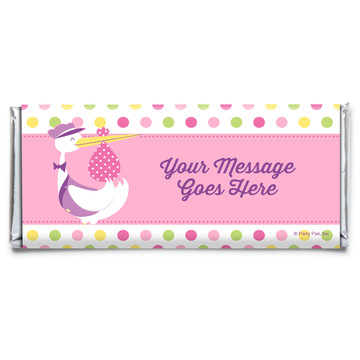 Baby Girl Stork Personalized Candy Bar Wrapper (Each)