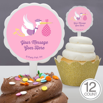 Baby Girl Stork Personalized Cupcake Picks (12 Count)