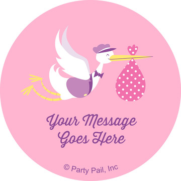 Baby Girl Stork Personalized Mini Stickers (Sheet of 24)