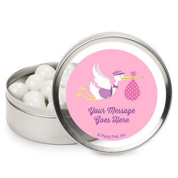 Baby Girl Stork Personalized Mint Tins (12 Pack)