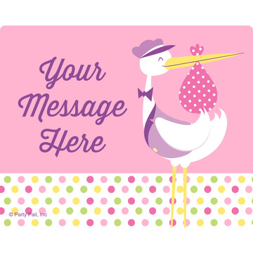 Baby Girl Stork Personalized Rectangular Stickers (Sheet of 15)