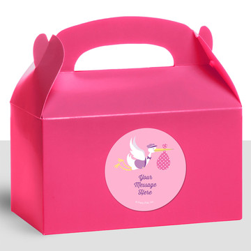 Baby Girl Stork Personalized Treat Favor Boxes (12 Count)
